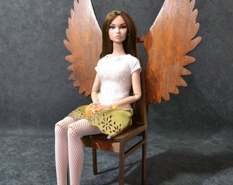 "Chair angel demon for Dolls 12/"" 1:6 for Barbie furniture OOAK wooden wings bird"