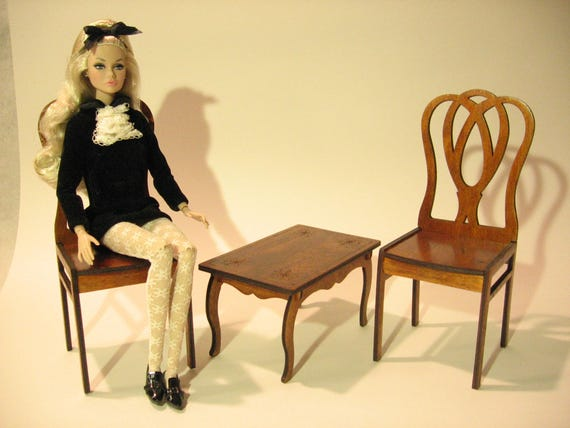 """Rolled arm chair for Barbie FR2 BJD Dolls 1//6 12/"""" furniture RARE wooden"""