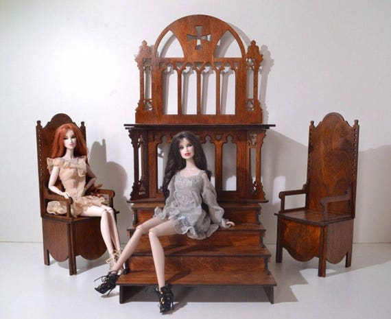 "Lectern for Barbie FR2 BJD Dolls 1//6 12/"" Furniture OOAK v62 wooden"