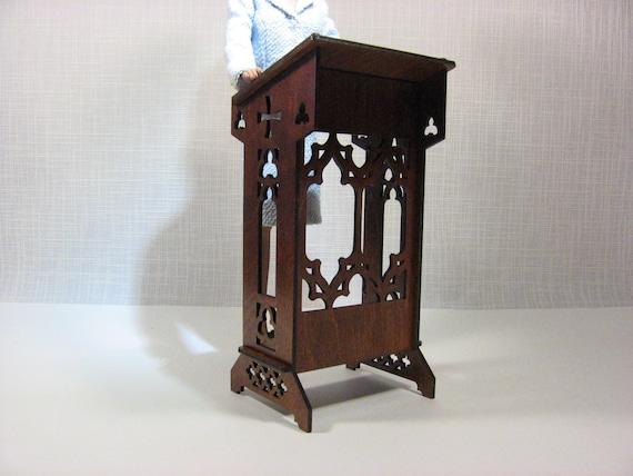 LECTERN BJD TONNER PODIUM GOTHIC catholic furniture for dolls 1//4 1:4 OOAK V1