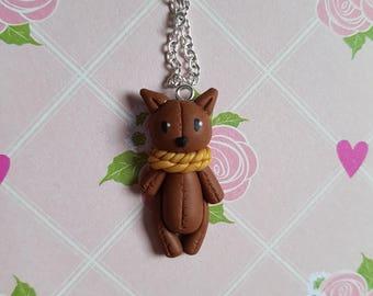 "Necklace (Brown) ""cat"" animal plushie"