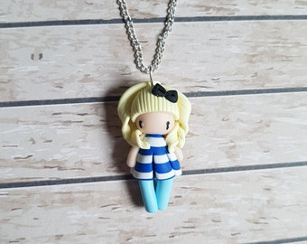 """Necklace little girl """"blonde hair, Navy blue/white striped dress"""" (sailor collection)"""