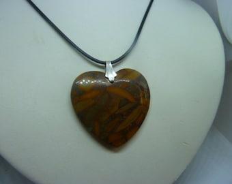 Genuine gemstone heart pendant Jasper BAMBOO