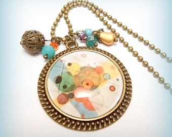 """Détail - Kandinsky"" glass Cabochon necklace"