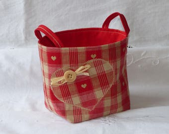 Fabric basket with small hearts