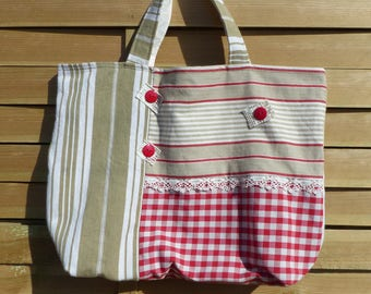 Old style French ticking tote bag
