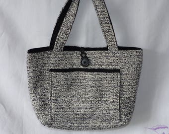 Fabric style weaving black and grey handbag