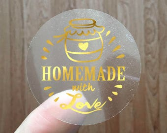 HOMEMADE WITH LOVE - Gold Foil Labels - Sticker - Seal - #07