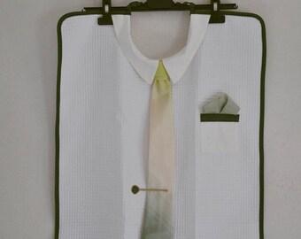 Adult bib tie green and ecru striped mens