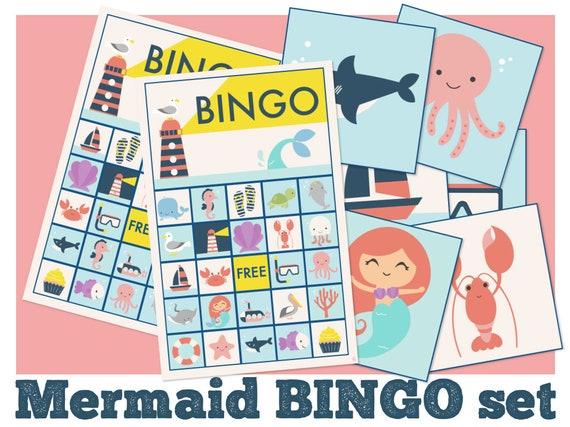 Mermaid Bingo Mermaid Baby Shower Games Mermaid Printable Etsy
