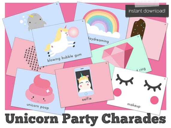 Unicorn Party Games, Unicorn Games, Unicorn Party Charades, Mermaid Party  Games, Flamingo Party Games, Birthday Party Games, Unicorn Party