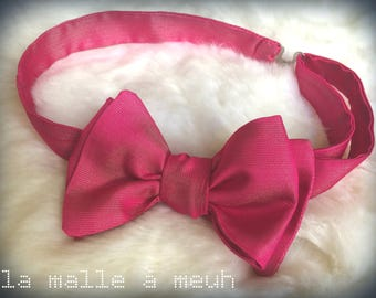 adjustable bow in pink, original silk for a wedding