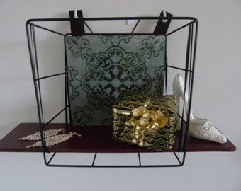 Wall shelf made of wire and wood recycled object original creation design interior decoration