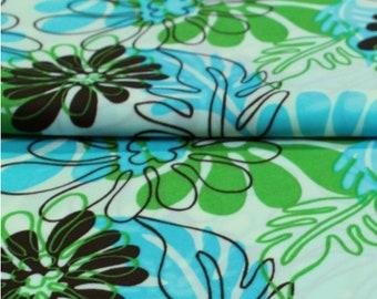 Jersey fabric Jet Blue flowers