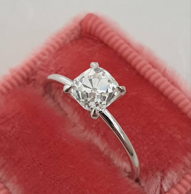 Diamond Engagement Ring 1 Carat Cushion Diamond Unique Diamond Ring Old Mine Cushion Cut Engagement Ring Diamond Ring Free Shipping