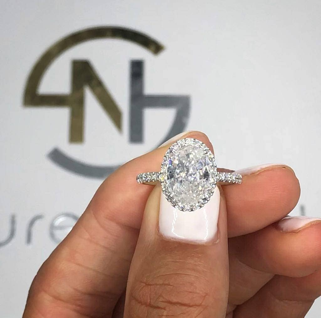 260 Carat Diamond Engagement Ring Diamond Ring Oval Halo Diamond Ring Diamond Ringunique Ringbig Diamond Ringfree Shipping