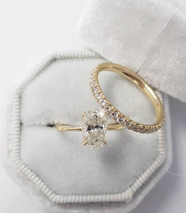 59ec2b64c7e468 2 Carat Oval Diamond Bridal Engagement Ring Set Hidden Halo | Etsy
