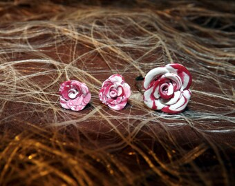 Earrings studs + white rose Adjustable ring and pink polymer clay set