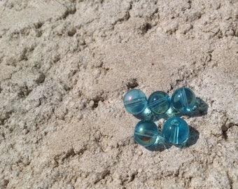 Blue glass beads, transparent 8mm