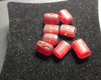 Red rectangle glass beads