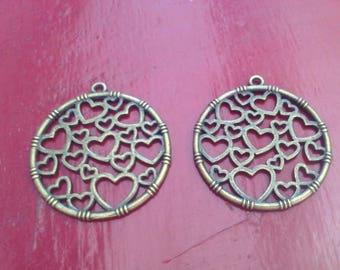 Charm heart Bronze pendant