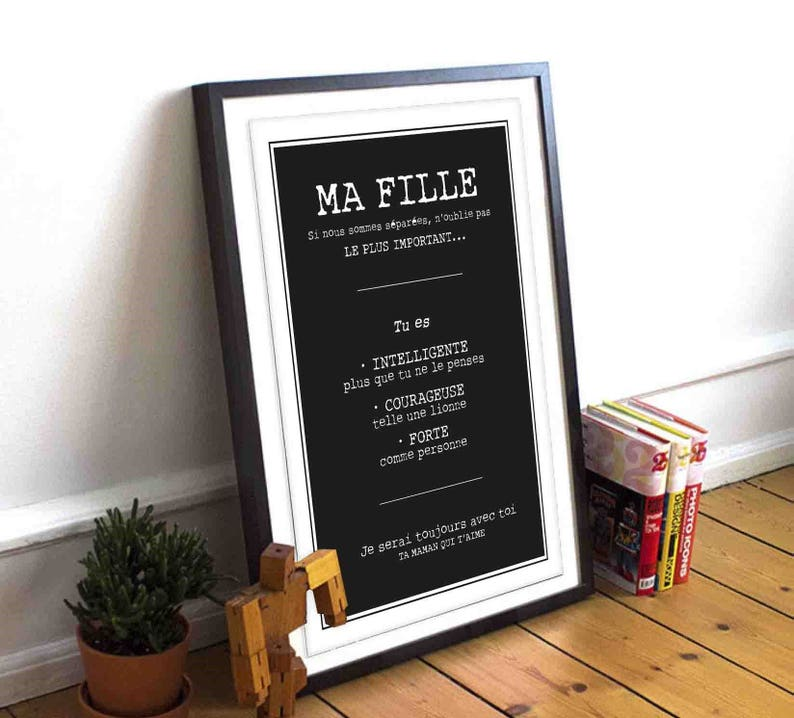 Affiche design Je t'aime ma fille - Créatrice ETSY : kidesignandco