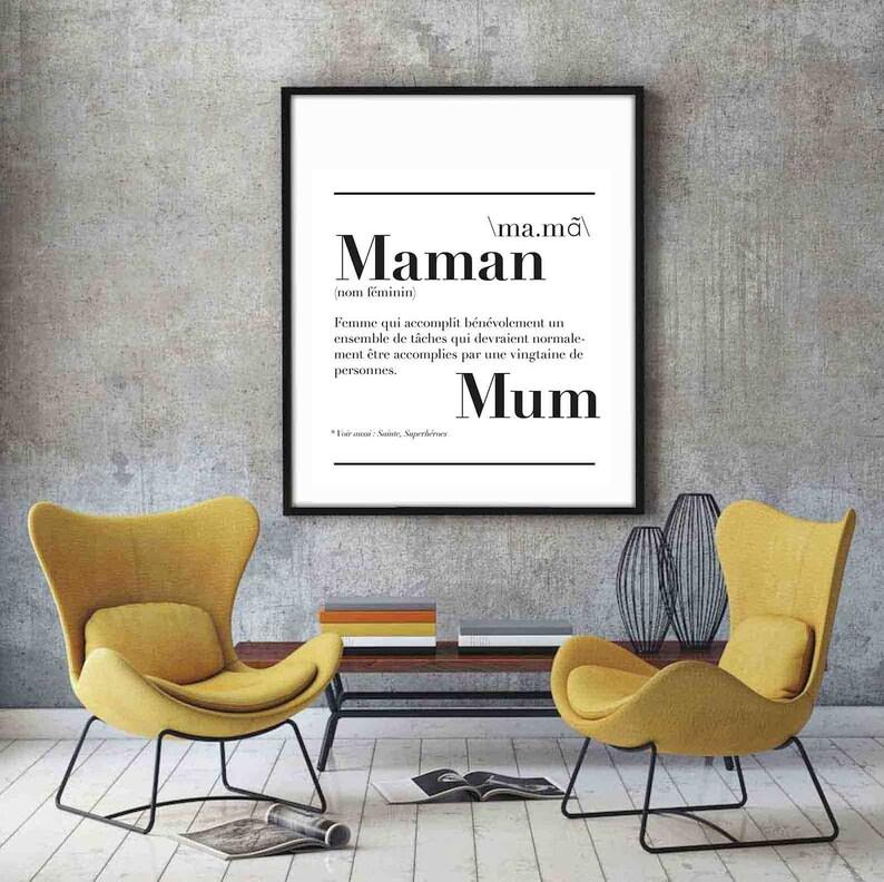 Affiche définition Maman - Créatrice ETSY : kidesignandco
