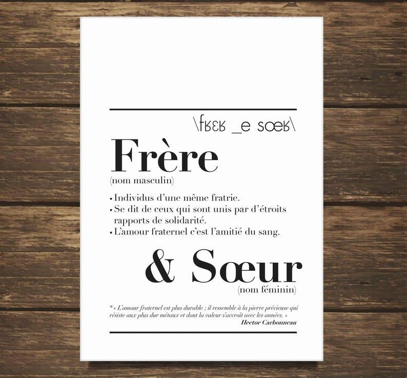Affiche définition Frère & Sœur - Créatrice ETSY : kidesignandco