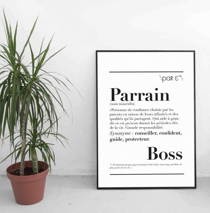Affiche définition Parrain - Créatrice ETSY : kidesignandco