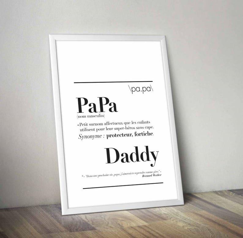 Affiche définition de Papa - Créatrice ETSY : kidesignandco