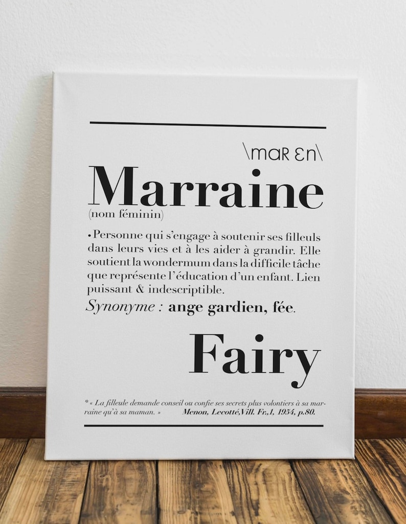 Affiche définition Marraine - Créatrice ETSY : kidesignandco