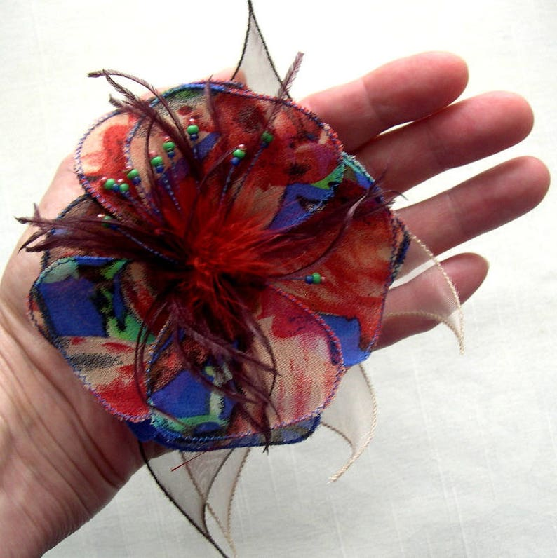 gift flower wedding accessories woman Flower brooch in fabric red and blue flower 077 custom feathers and pearls organza