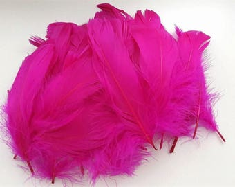 set of 10 hot pink feathers 10-15cm