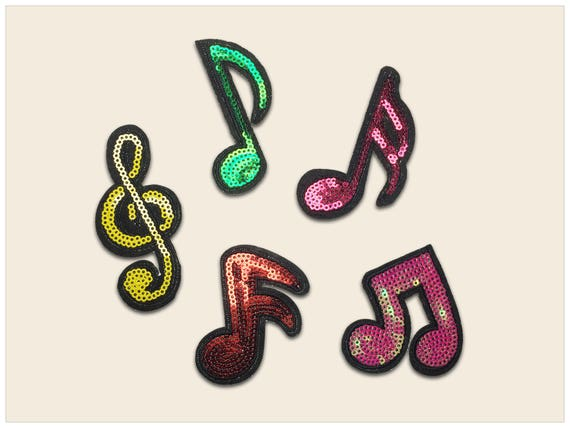 music notes patch sequin patch musci patch notes patch etsy