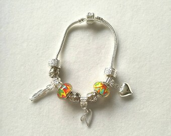 European bracelet with European beads, silver customizable letter