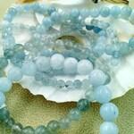 AQUAMARINE bracelet, quality AA, natural stone bracelet, round beaded bracelet, elastic bracelet, semi precious stone, multi size