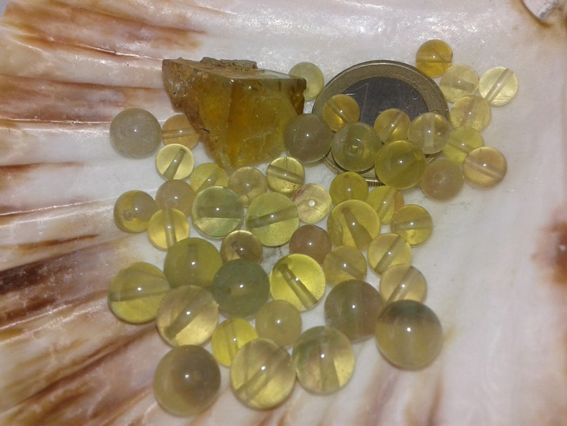 6mm 8mm smooth round bead in real semi precious natural stone FLUORITE Yellow A bead set