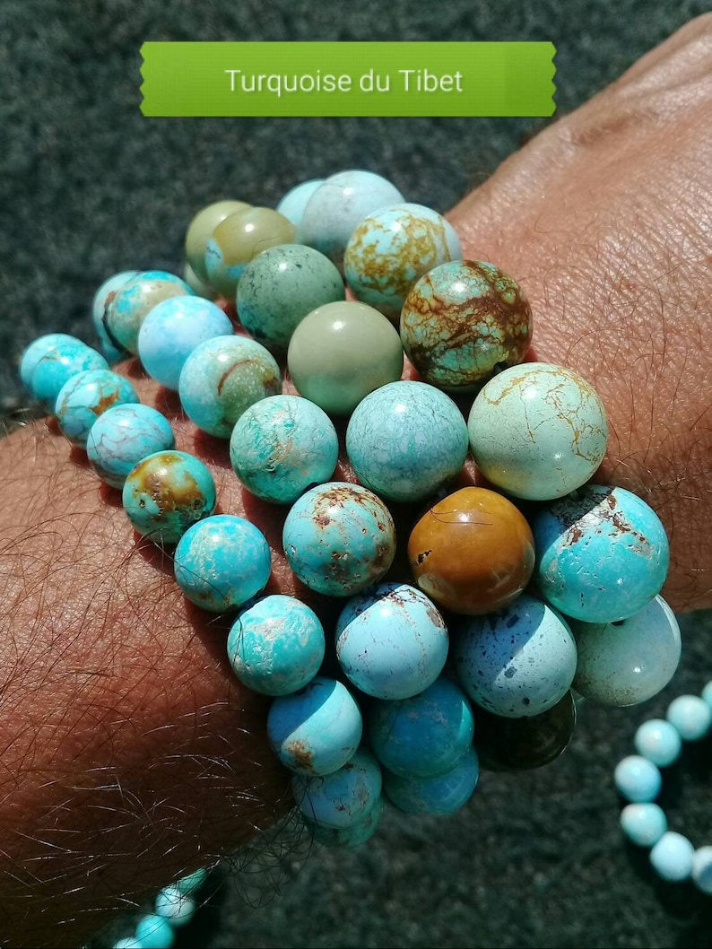TURQUOISE Tibet rare bracelet cut in AA round beads natural image 0