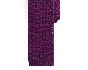 Dark Purple Silk Knit Tie, Men's Necktie, Knitted Necktie, Casual Necktie, Purple Necktie, Groomsmen Necktie, Wedding Necktie