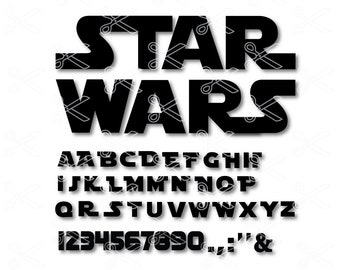 Star Wars Alphabet SVG, PNG, DXF, Eps Cut File - Star Wars Letters - Star Wars Font - Files for Silhouette Cameo or Cricut - darth vader svg
