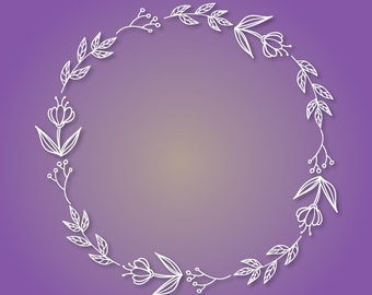 Floral wreath svg, png, dxf, eps cutting files, frame svg, floral svg, wreath svg, flower svg, floral frame svg, laurel wreath svg, clip art