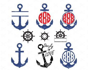 Anchor SVG PNG EPS Dxf Cutting Files Monogram Svg Vector Silhouette Cameo Cricut Clipart Clip Art