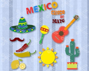 Cinco de Mayo SVG, PNG, DXF, Eps Cutting Files, Fiesta Svg Cut File, Mexico Svg, Guitar Maracas Svg, Pinata Sombrero Svg, Mexican Svg