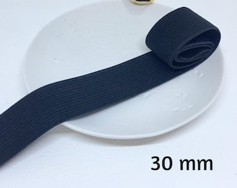 1 meter Ribbon elastic white or black 3 cm wide