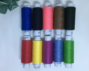 Thread number 40 different colors set of 10 spools