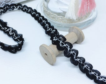 Wave organza, Ribbon braid trim, width 10 mm, black with Pearl gray, by the yard