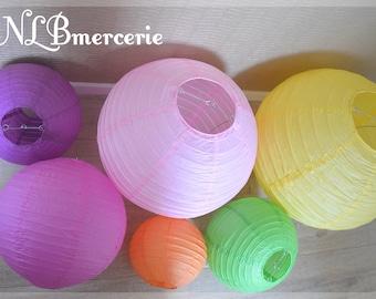 Set of 2 lanterns, several colors, diameters 15 to 30cm