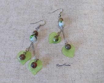 Spring earrings beads of natural unakite, ear, long earrings, women jewelry