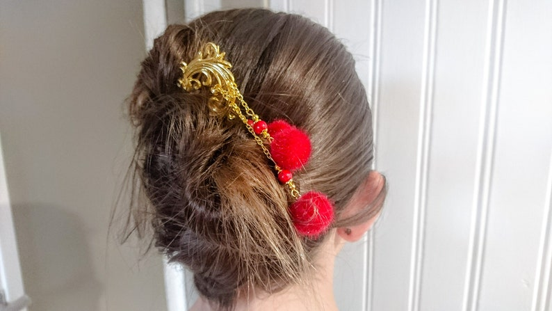 original and elegant creation gift idea red jade beads and pompoms hairstyle accessory Hair pic