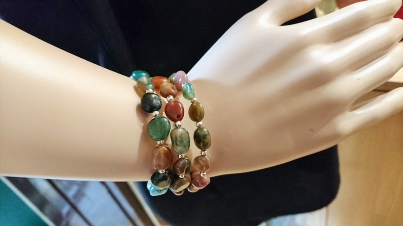 gift idea unique creation for women Adornment necklace and bracelet Indian agate triple row
